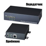 Неуправляемый PoE-коммутатор Fast Ethernet на 4 порта со встроенным удлинителем Ethernet
